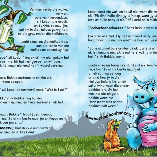 'n Voorbeeldbladsy uit 'n Loebi persboek vir die 5-7 jarige ouderdomsgroep